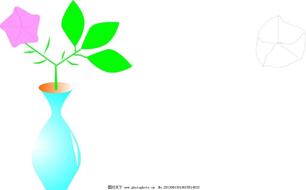 花瓶 花 瓶字 兰色 绿色 粉色 简单 卡通 美术绘画 文化艺术 矢量 cdr