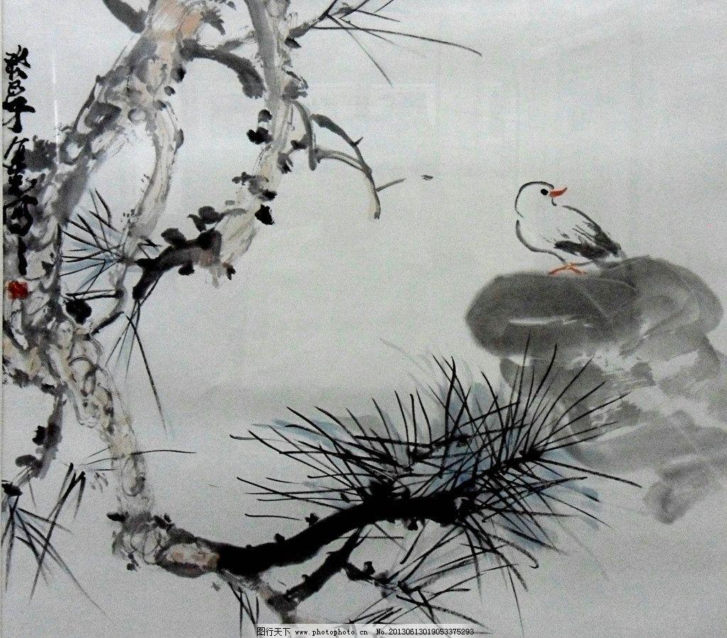 鸟树水墨画 松树 山雀 工笔画 国画 字画 水墨画 绘画书法 文化艺术