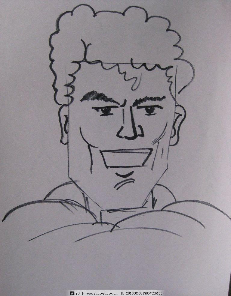 简笔画型男 男人 肩膀 脸部线条 肌肉 头发 动漫人物 动漫动画