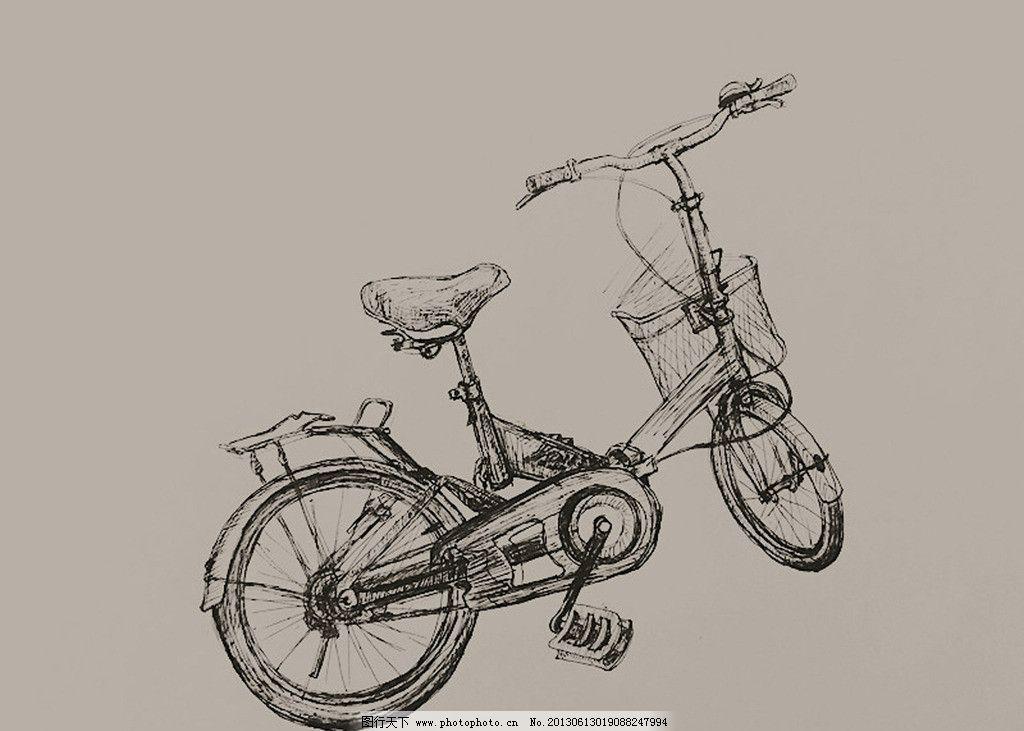 自行车 手绘 插画 写实 素描 绘画书法 文化艺术 设计 72dpi jpg