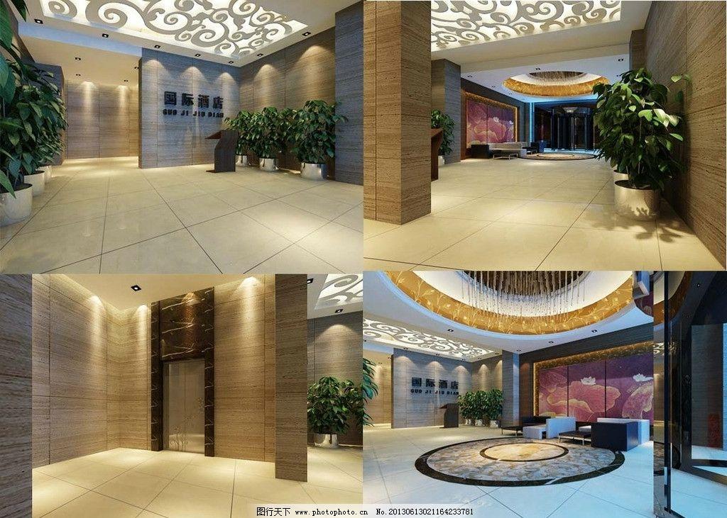 酒店大堂效果图图片_3d作品设计_3d设计_图行天下图库