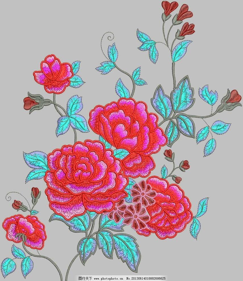 红牡丹花 红花 牡丹花 大花 乱花 粉色花 绣花 传统文化 文化艺术