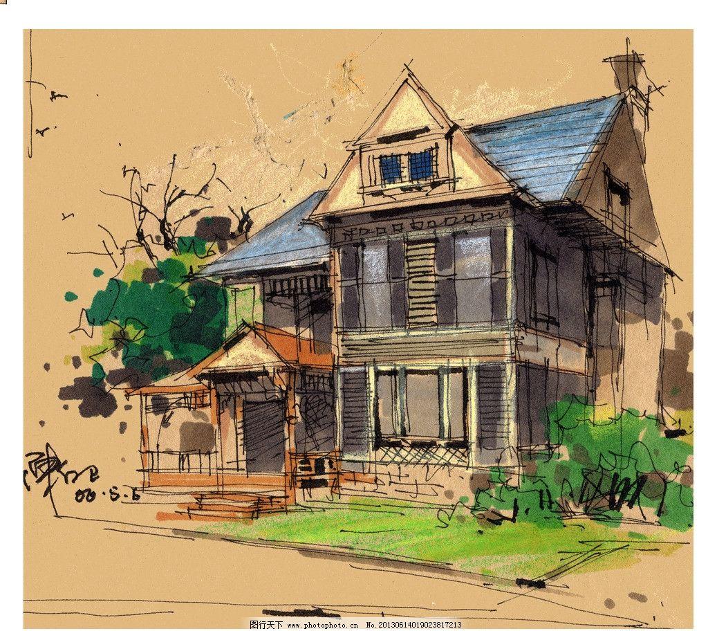手绘建筑 手绘 建筑 色彩 马克笔 美术 树木 绘画书法 文化艺术 设计