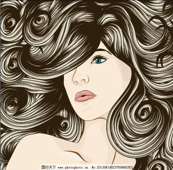 女性 女人 头发 发型 卷发 美发 造型 理发 飘逸 妇女女性 矢量人物