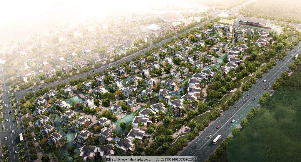 豪宅区鸟瞰 别墅区 洋房鸟瞰 绿化 景观 庭院 高端住宅区 欧式 住宅