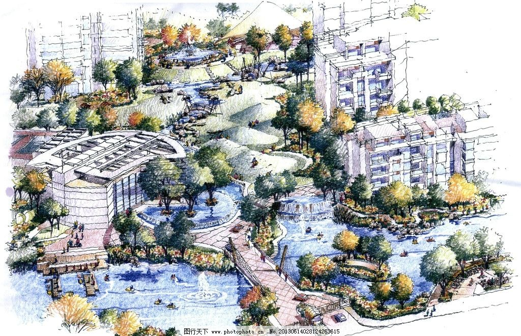 居住区        景观效果图 篮球场 网球场 中心广场 广场 假山 跌水