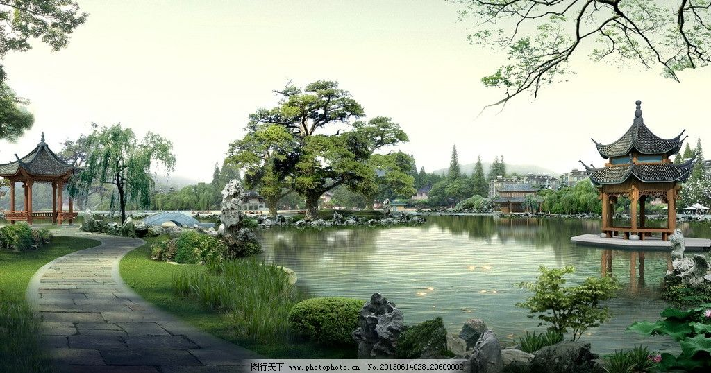 园林景观 庭院 湖水 树木 古典美 小路 园林 景观设计 环境设计 设计