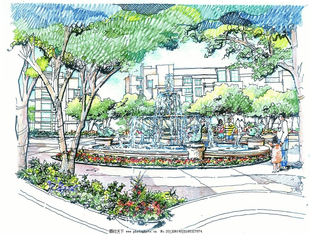 居住区景观 小区 居住区        景观效果图 篮球场 网球场 中心广场