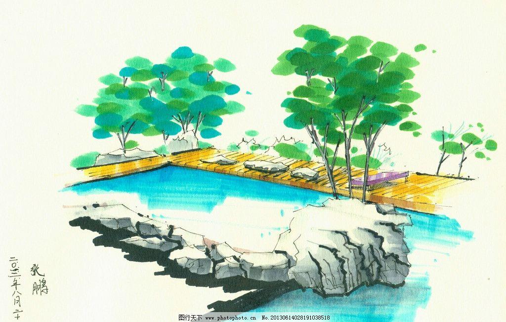 手绘图 水彩 环艺设计 设计 景观 别墅 房屋 绿化 植物 景观设计 环境