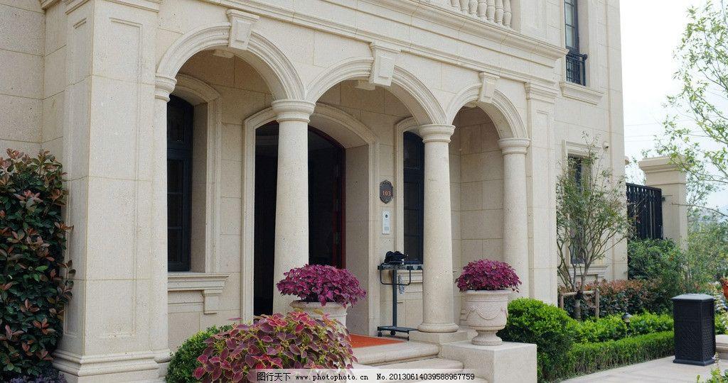 古典建筑 会所入口 欧式 廊柱 台阶 花钵 绿化 食材贴面 园林建筑