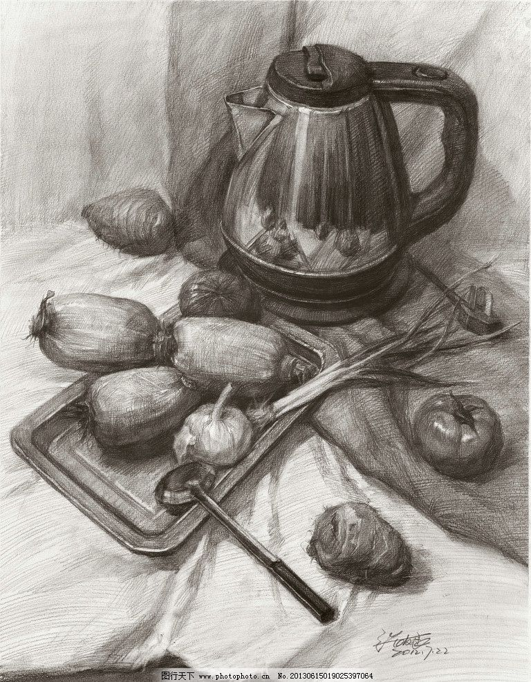 张友良 素描静物 素描作品 不锈钢水壶 素描葱 蒜 藕 芋头 西红柿