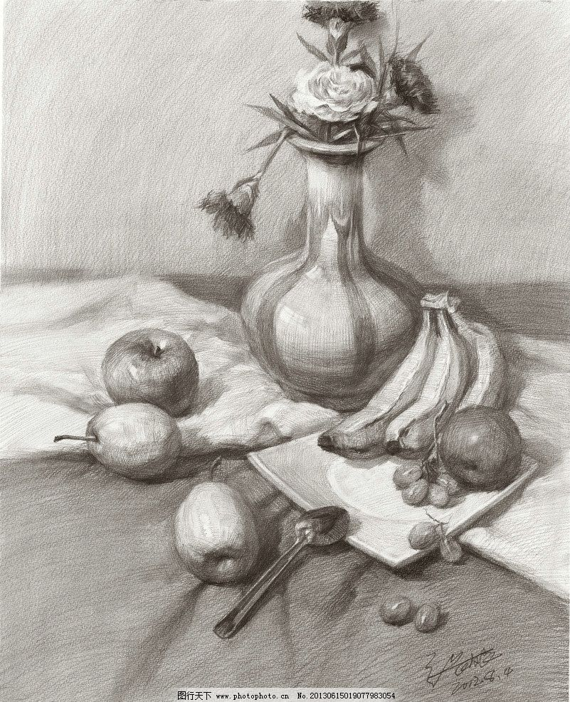 素描静物 张友良素描 张友良素描静物 张友良作品 素描作品 花瓶 花