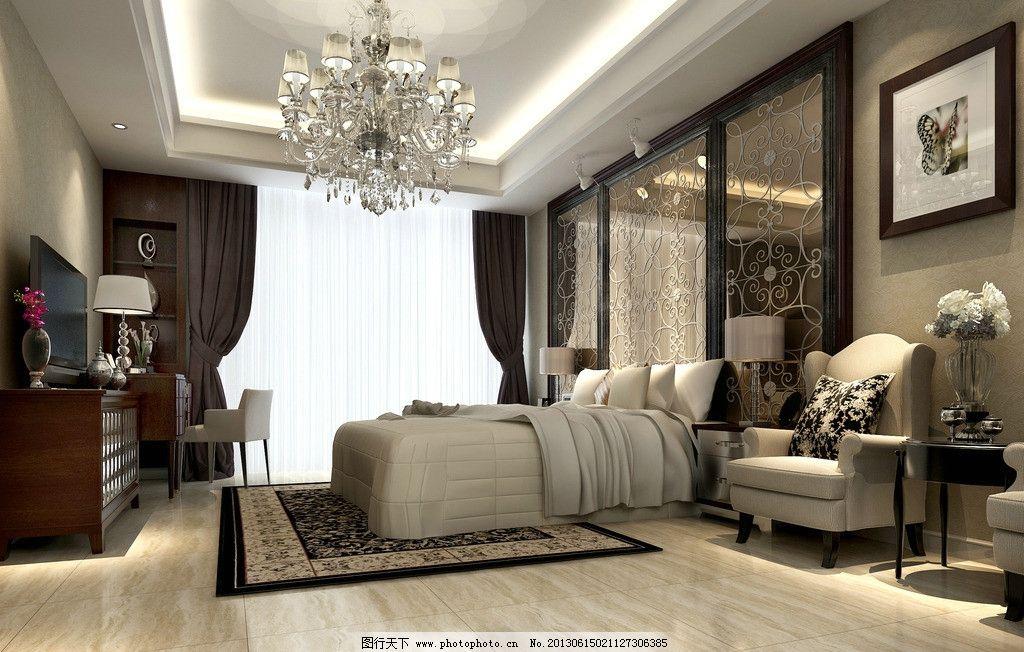 豪华单身公寓套房 床 挂画 窗户 室内设计 效果图 酒店套房