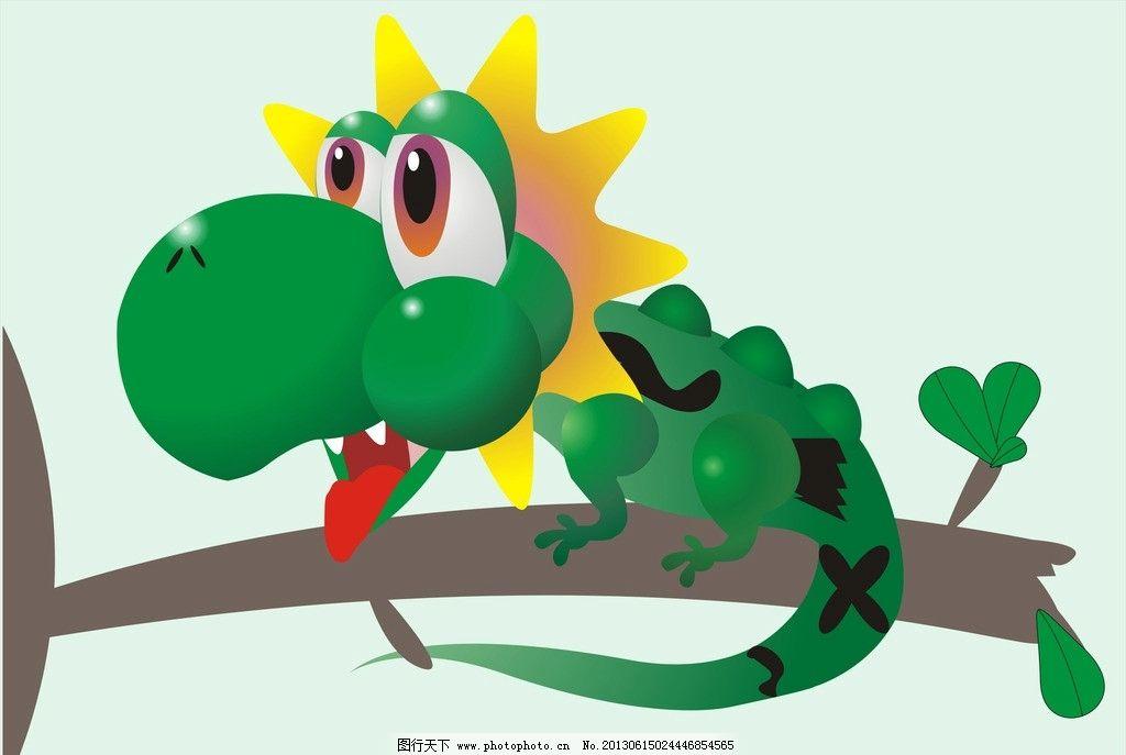 变色龙 蜥蜴 卡通 画 树枝 树叶 野生动物 生物世界 矢量 cdr