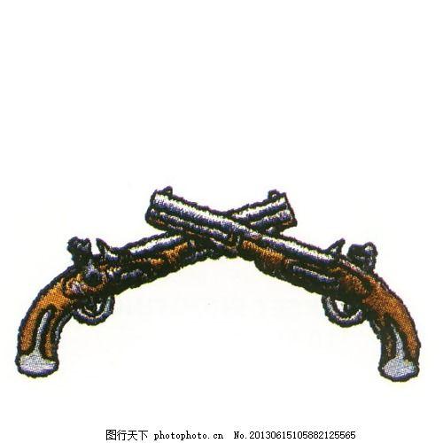 绣花 色彩 五颜六色 黄色 手枪 免费素材