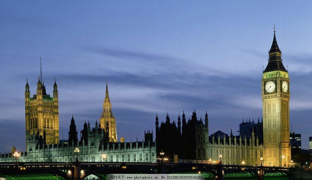 城市夜景图片,英国 伦敦 大笨钟 古典欧式建筑 钟塔
