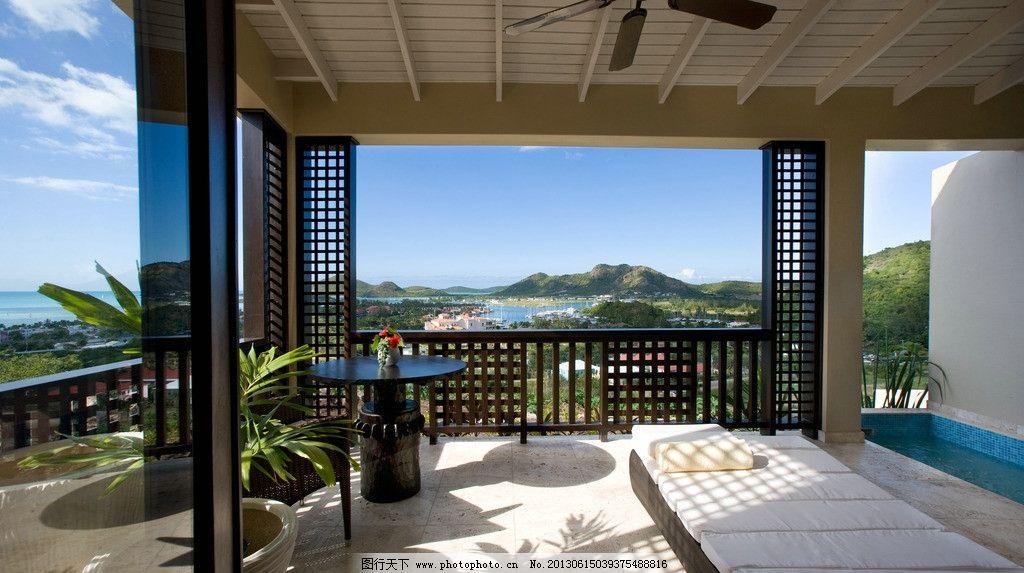 阳台 别墅 游泳池 浴池 栏杆 豪宅 景观 盆景 吊扇 装修 室内