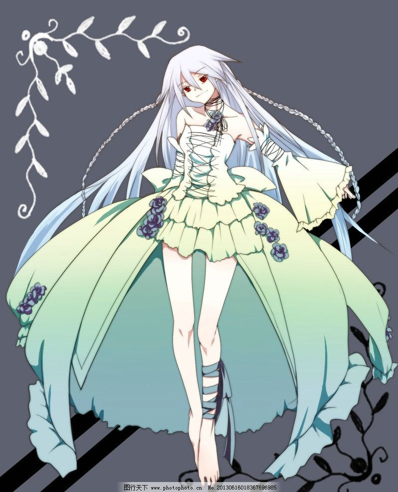 银发少女 少女 银发 漫画 长发 长裙 动漫人物 动漫动画 设计 300dpi