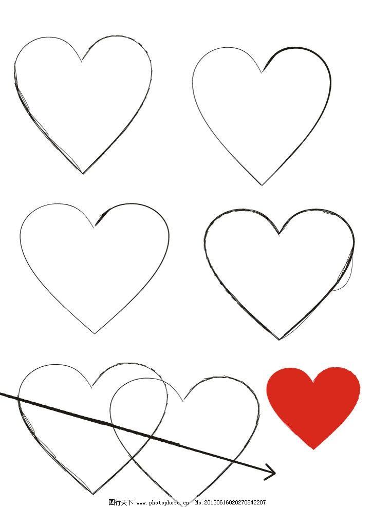 图案 心形图案 手绘图形 铅笔绘图形 名片背景素材 封面背景素材 画册