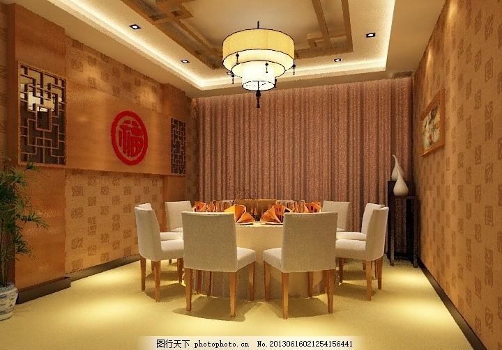 中式餐厅 中式包房 客厅 大厅 中式吊灯 中式壁纸 饭馆 饭馆包房