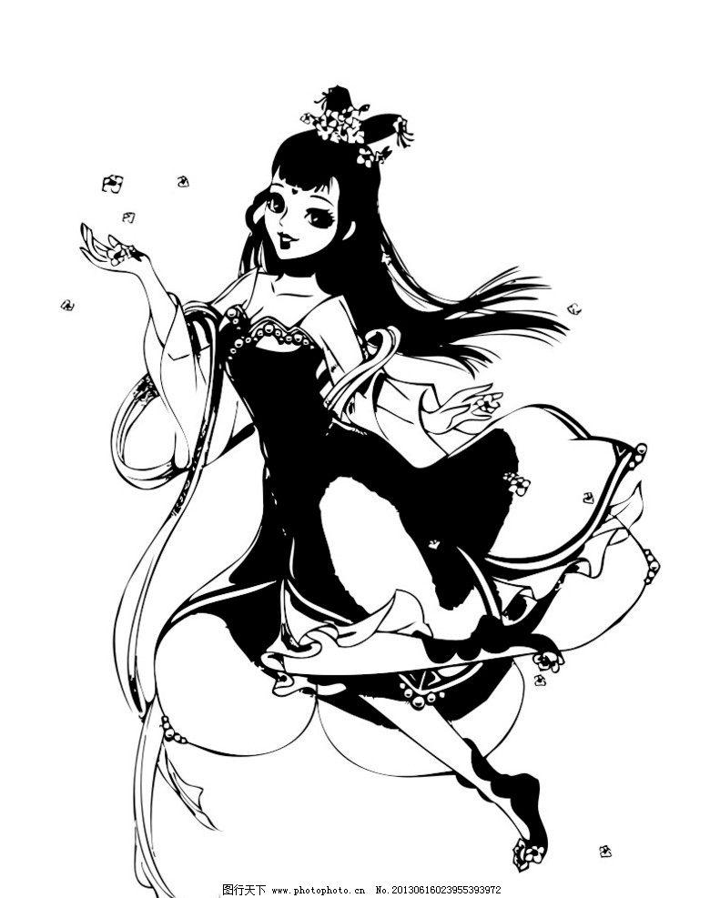 卡通美女 黑白卡通人物 手绘图 其他人物 矢量人物