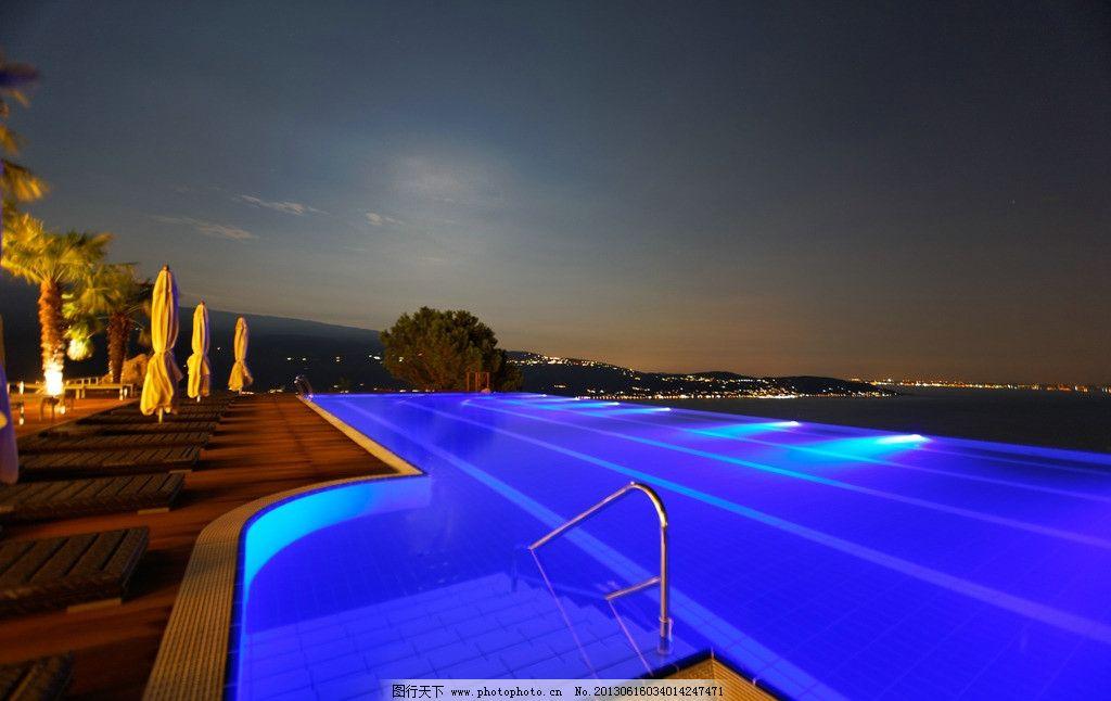 游泳池 夜景 海边 城市 别墅 灯光 园林 国外旅游摄影 国外旅游 旅游