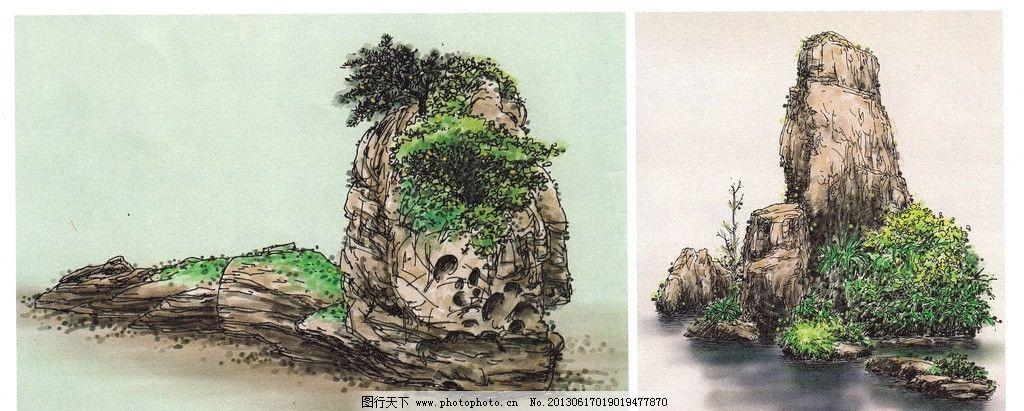 风景画 风景写生 水彩画 硬笔淡彩 钢笔水彩 钢笔画 石头 池塘 绘画