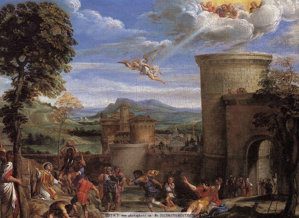 西方油画图片 西方油画 城堡 哀求 批斗 美术 绘画 小天使 美术绘画