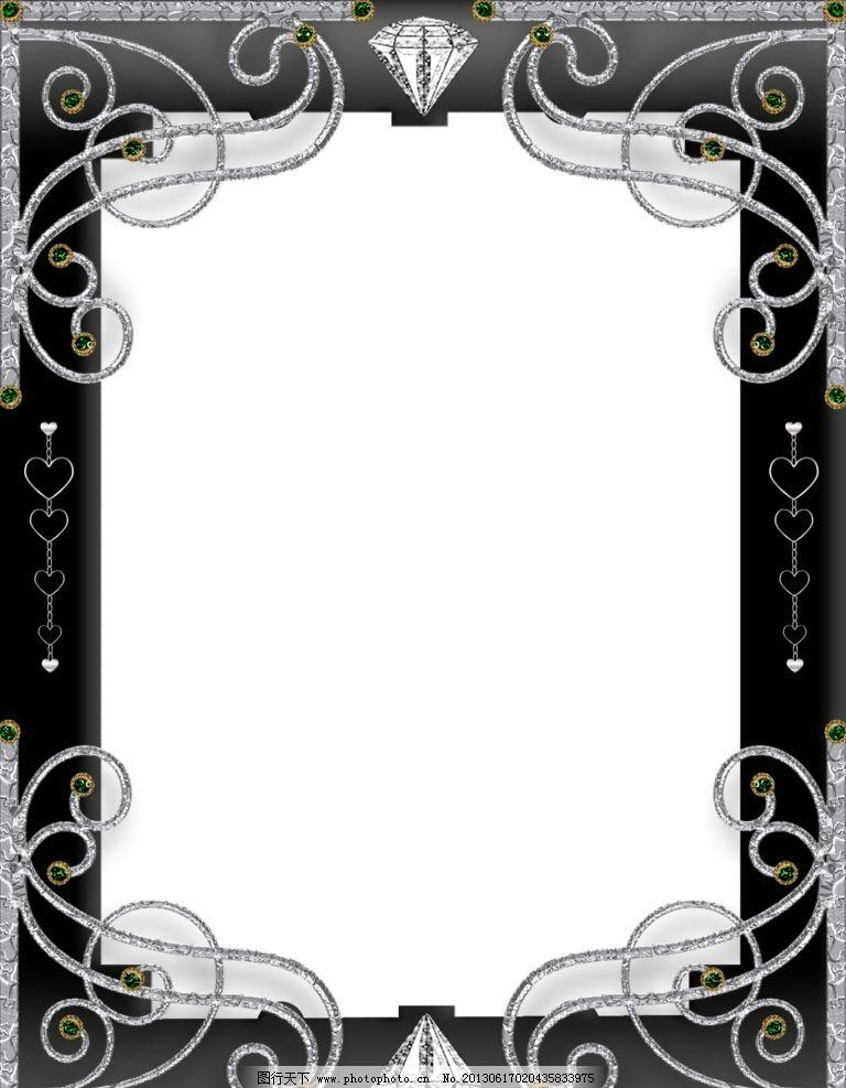 黑色边框 相框 黑色 花纹 高清素材 相册模板 边框相框 底纹边框 设计