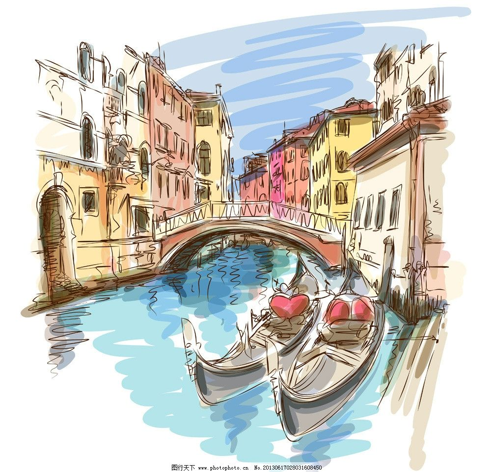 手绘城市设计素材 手绘城市模板下载 风景漫画 城市风景 城市 手绘