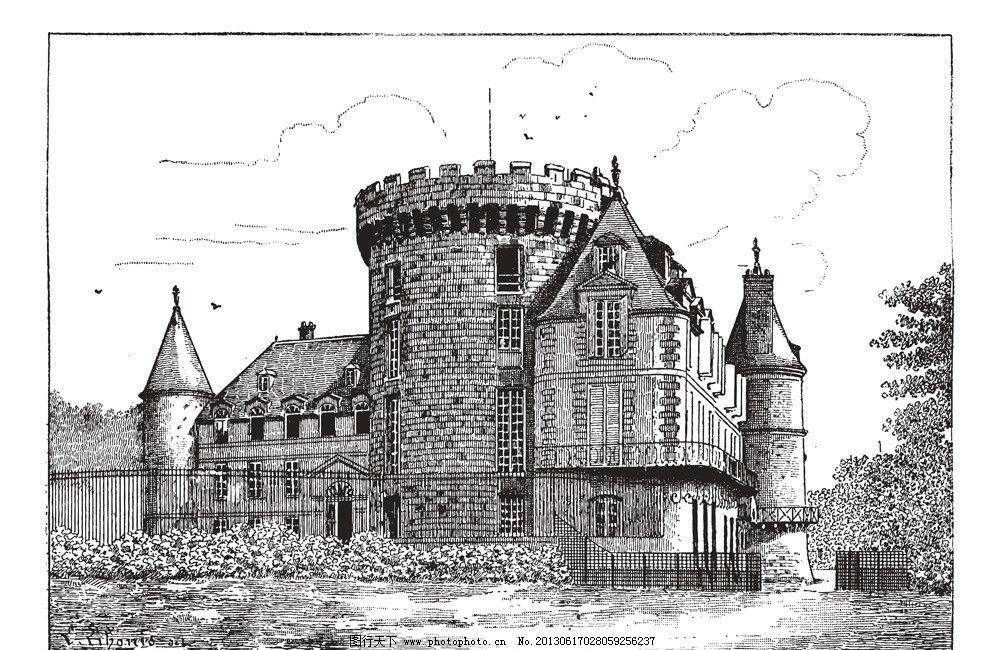 手绘城市 风景漫画 城市风景 城市 古堡 动漫动画 欧式建筑 城堡 底纹