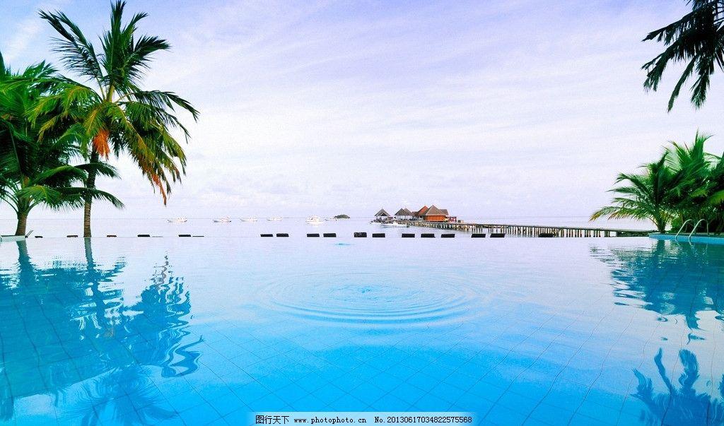 海边风景 风景壁纸 海滩 海浪 沙滩 游泳池 椰树 美丽的海边风景