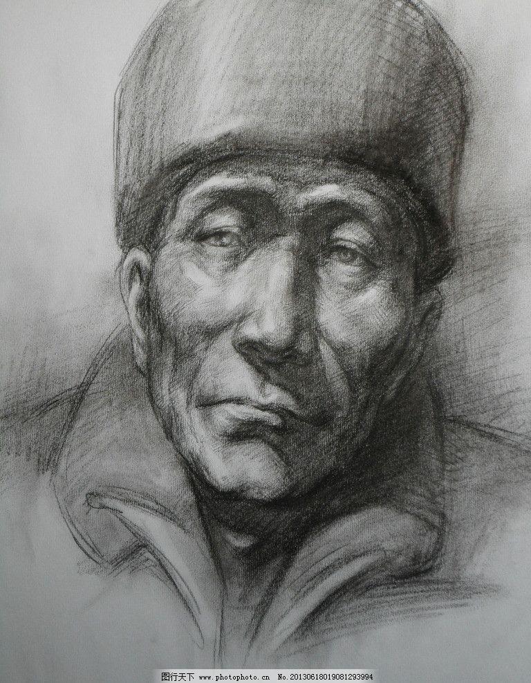 男头像素描图片_绘画书法