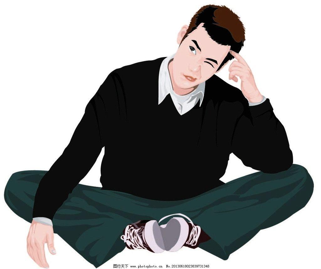 思考的帅哥 思考 帅哥 人物 卡通 卡通人物 发愁 愁 男人男性 矢量