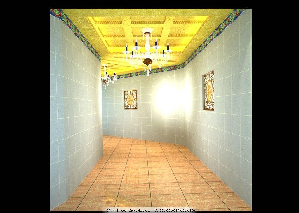 寺院地宫走廊吊顶设计 古建筑吊顶 寺庙地宫吊顶设计 地宫走廊吊顶