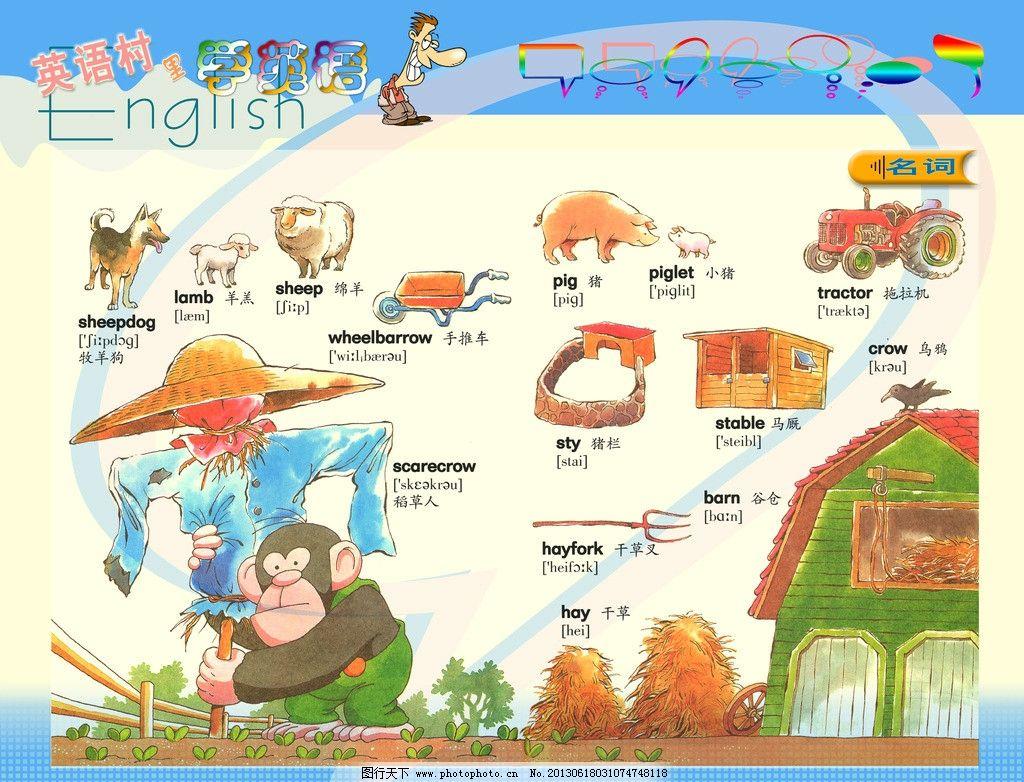 英语城 英语单词 卡通 英语 可爱 学校 单词 校园 展板 模板 其他模版