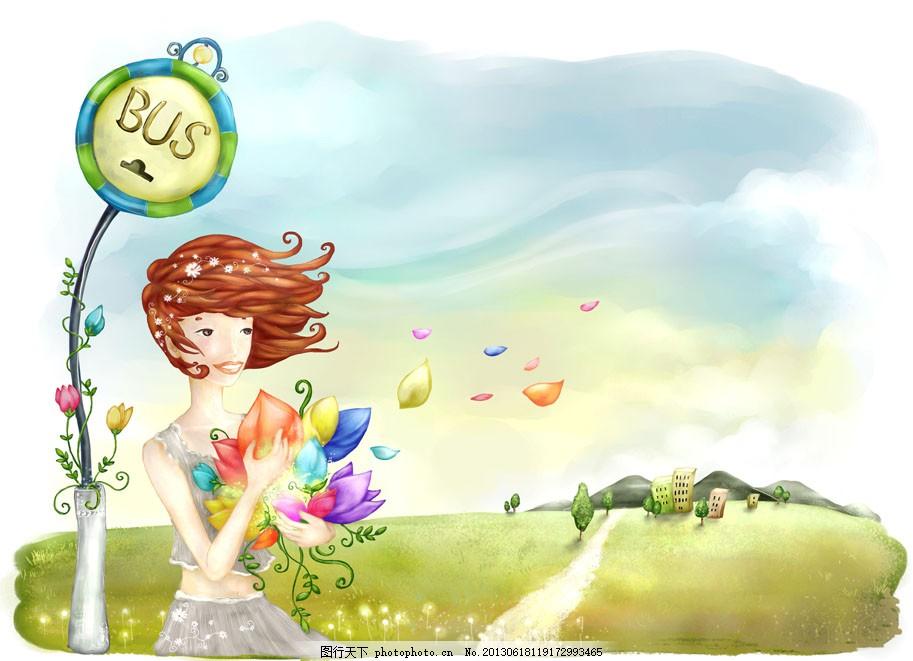 七彩花瓣 童话 手绘 女生 白色