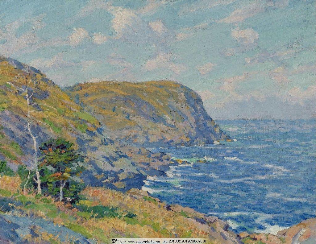 设计图库 文化艺术 绘画书法  海景油画 海景 海边 大海 海洋 高山