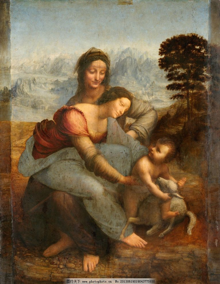 圣安娜与圣母子 西方 油画 达芬奇 高清 绘画书法 文化艺术