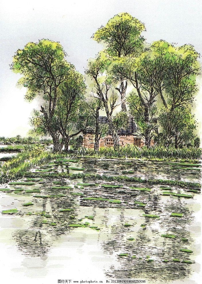 水彩风景 水彩画 绿树林 田园风景 倒影 风景水彩 水彩手绘 硬笔淡彩