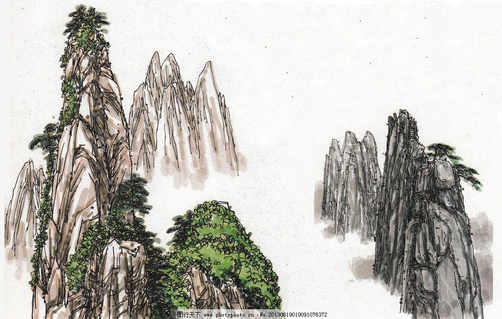 国画山水 山水画 山水风景 水彩画 风景小品 水彩手绘 硬笔淡彩 风景
