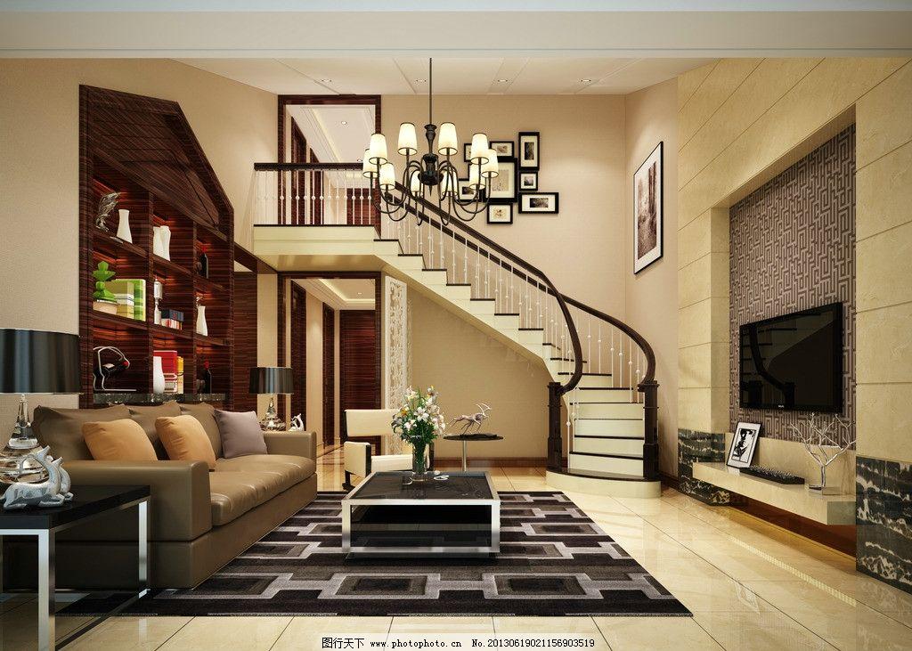 客厅效果图             三维 楼梯 沙发 地毯 3d作品 3d设计 设计