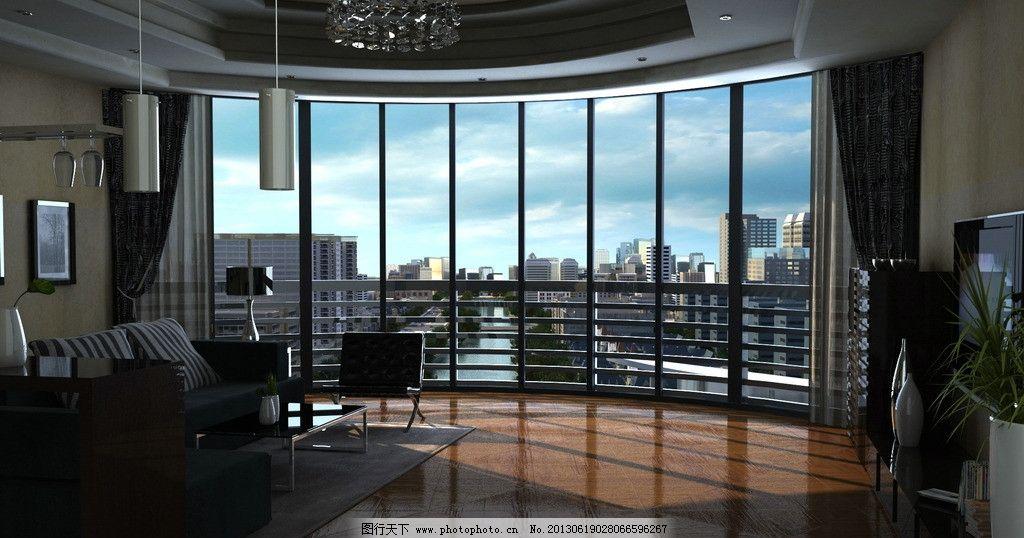 室内效果图 透视图 建筑 装潢 装修 窗户 落地窗 窗台 客厅