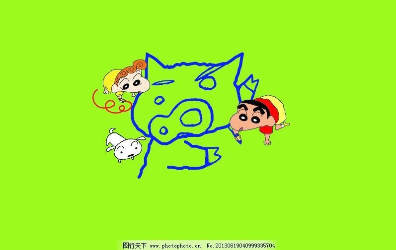 蜡笔小新画画 蜡笔小新 画画 儿童 简笔画 小猪 小狗 小朋友 儿童幼儿