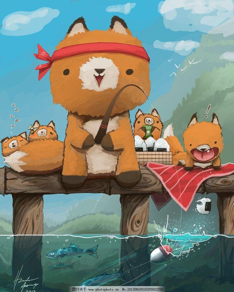 小猫 手绘 插画 可爱 卡通 背景 蝴蝶结 钓鱼 动漫动画