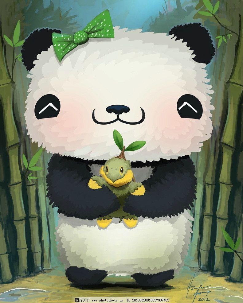 熊猫 手绘 插画 可爱 卡通 背景 蝴蝶结 竹子 动漫动画
