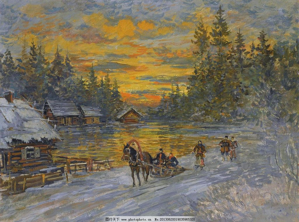 冬季油画 冬季 冬天 下雪 冰雪 大树 树木 马拉雪橇 风光画 风景画 山
