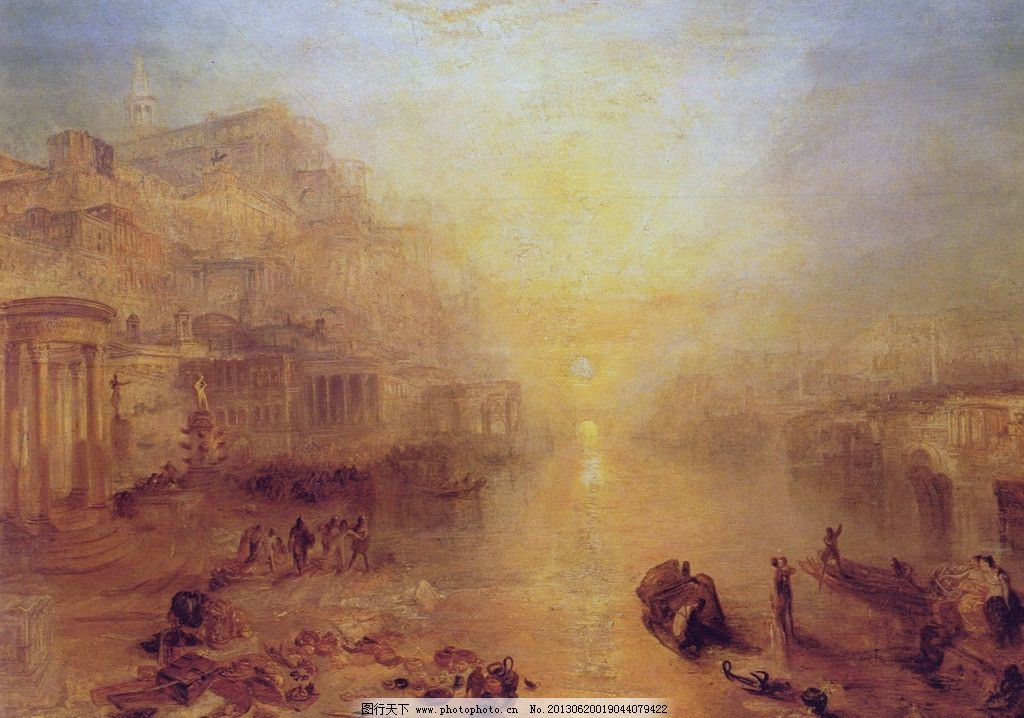古典风景油画 船只 夕阳