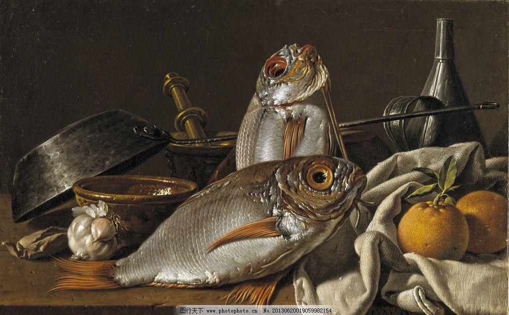 古典油画静物 器皿 鱼