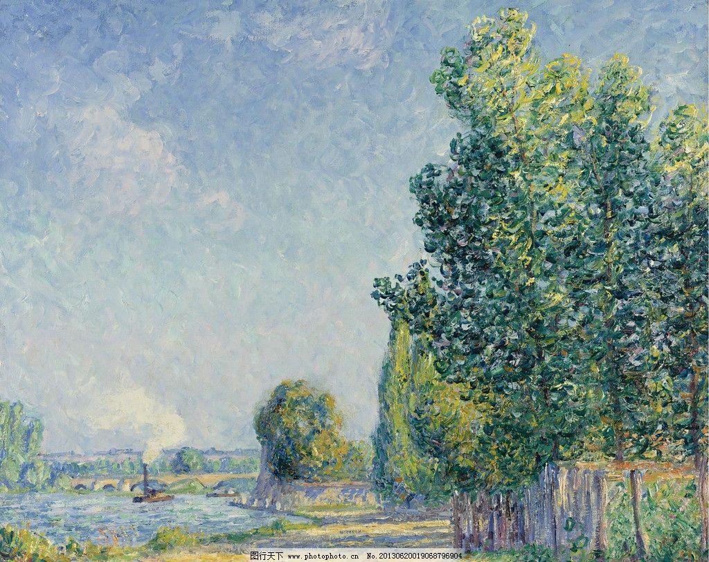 树林油画 大树 绿树 森林 小河 风光画 风景画 山水画 欧洲油画